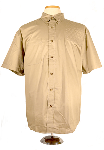 #0281 buttonfront twill short sleeve 60.40 - left hand single layer pad, sandalwood
