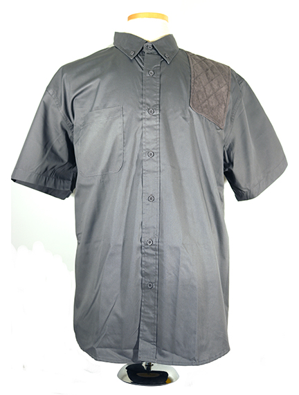 #0281 button front twill short sleeve - lefthand single layer grey microsuede pad, charcoal