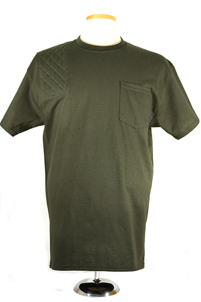 #2300 mens short sleeve cotton pocket t shirt - right hand double layer pad, forest green