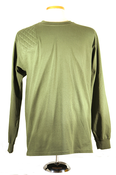 #2400 mens long sleeve cotton t shirt - right hand double pad, military green