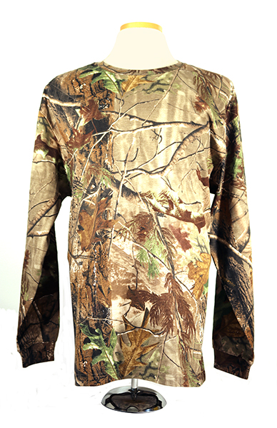 #3980 Real tree Long sleeve camouflage cotton tshirt - right hand single layer pad, APG Pattern