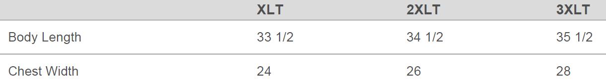 XLT-3XLT Size Chart